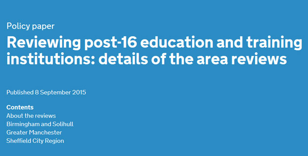Future of nearly 40 colleges in question as BIS and DfE reveals those facing area reviews