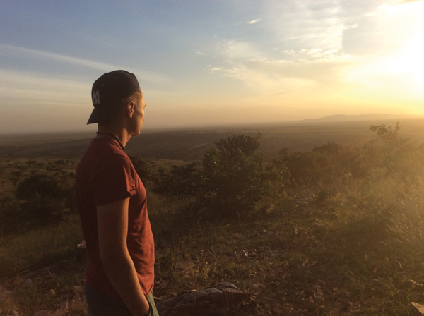 Learner Faustas Elenbergas watches the sunset on an inspirational trip to Tanzania