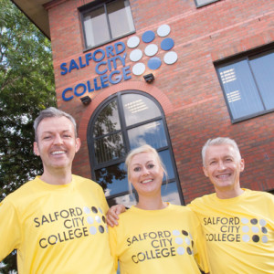 From left: Salford City College directors Warren O'Donovan and Rebekah Wilkins with principal John Spindler