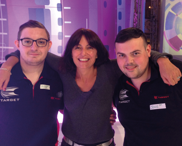 Stockport College learners' bullseye with TV star Davina McCall and cricketer Freddie Flintoff