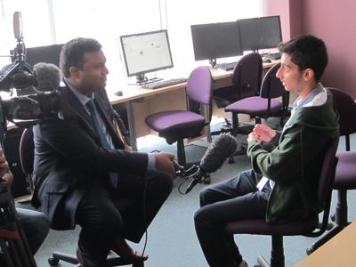 BBC reporter Mahfuz Sadique interviewsUxbridge College learner Sunil