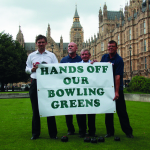 John Woodcock protests outside parliament in 2011 with a group of Furness bowlers to save bowling greens