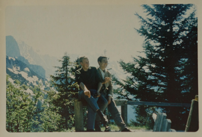 Cragg (left) in the German Alps when he worked as an interpreter and tour guide for an American college tour with a colleague