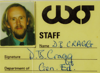 Cragg's college ID when he taught general studies at Warley College of Technology