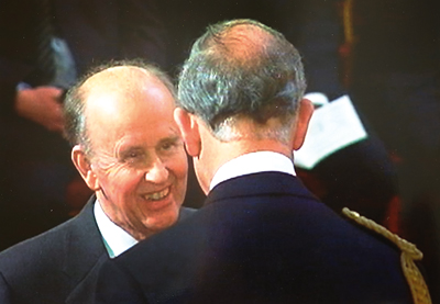 Prince Charles awards Cragg his OBE at Buckingham Palace in 2008 for services to training and to education. In 2012 he also received a CBE for services to education and skills