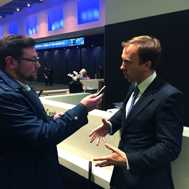 Reporter Freddie Whittaker interviews Cabinet Office Minister Matthew Hancock during the 2015 Conservative Party conference