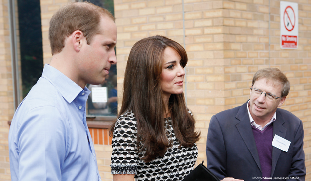 The Duke and Duchess of Cambridge visit Harrow College with Mind chief executive Paul Farmer
