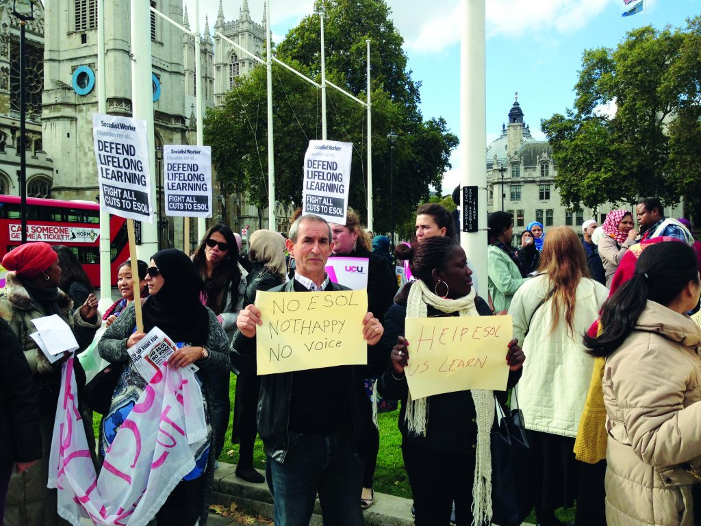 Government absent as FE protestors call for Esol answers