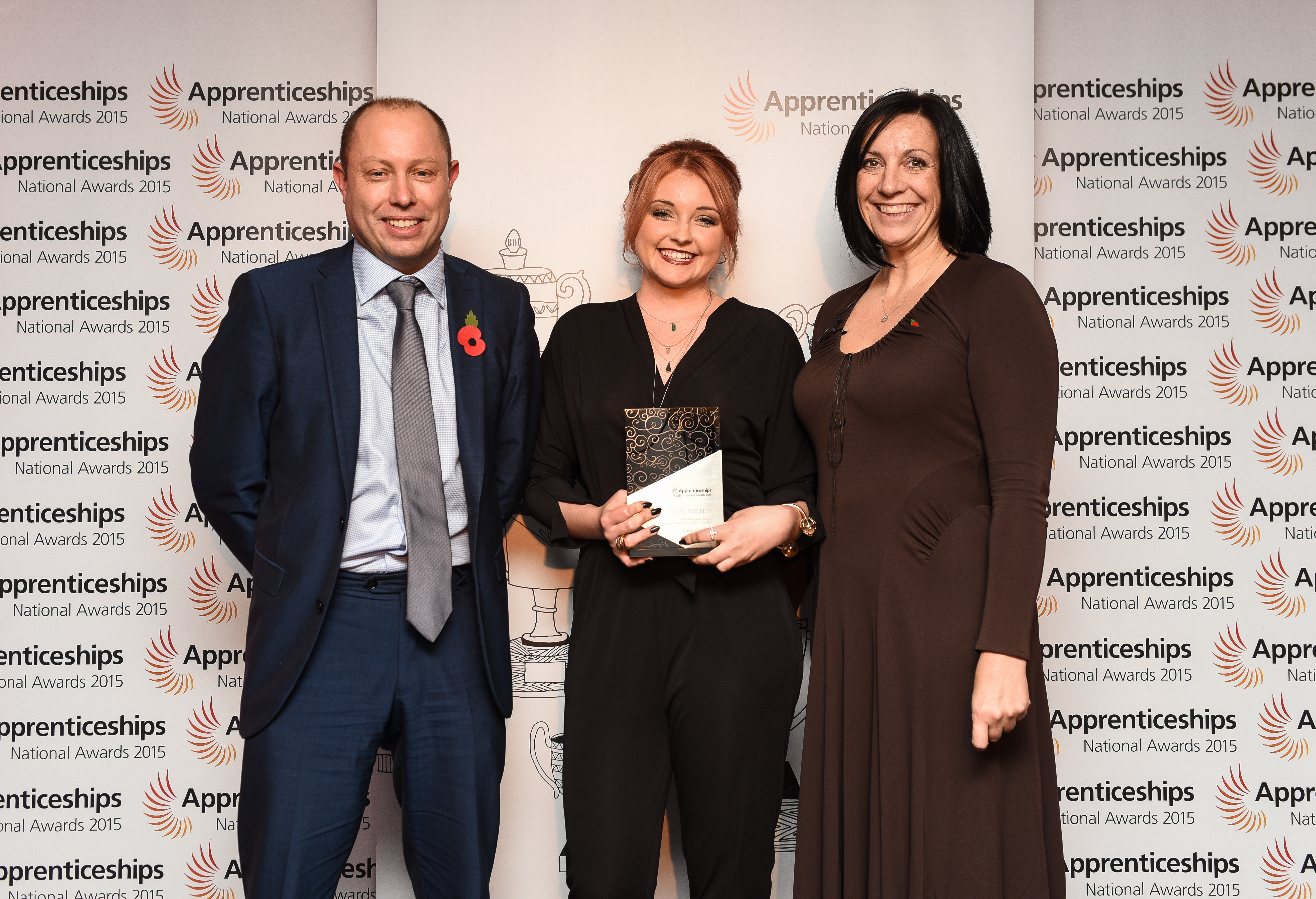 From left: Paul Skitt, assistant principal to head employer engagement at Cambridge Regional College, McDonald's award for Intermediate Apprentice of the Year winner for the East of England, Ashleigh Everett, and Karen Kelly, head of area relations team at the Skills Funding Agency