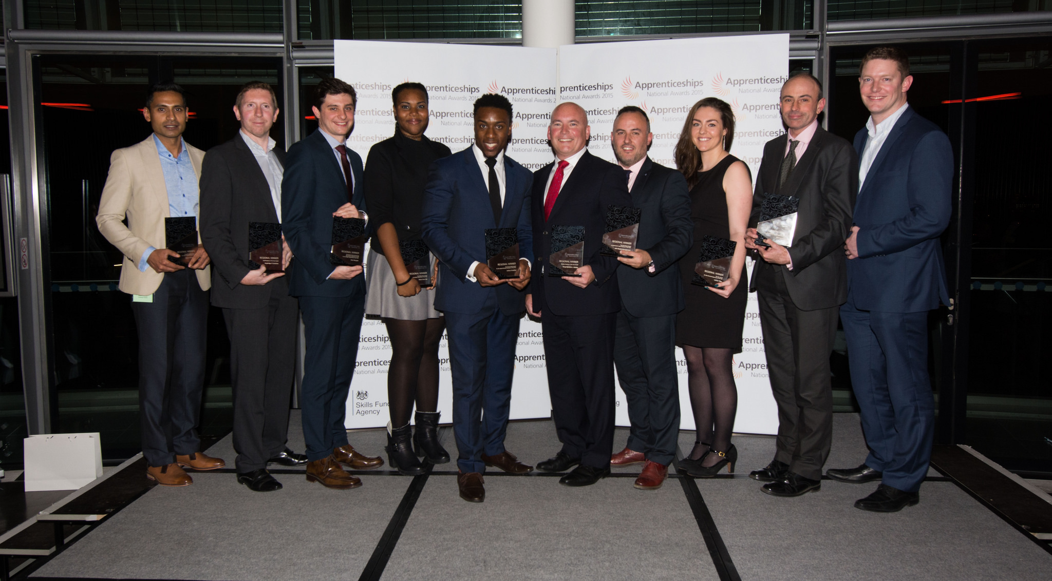 London winners group shot (L-R): Roy Ramrutton, Breyer; Andy Hinxman, Keybridge IT Solutions; Sean Norgate, level four, BT; Maria Dare-Ojo, level two, Compass Group; Joshue Uwadiae, eCourier; Terry Canty, Troupe Bywaters & Anders; Colin Neil, UBS; Lauren Tiller, level three, BT; Richard Hamer, BAE; Mark Donnelly,  BAE