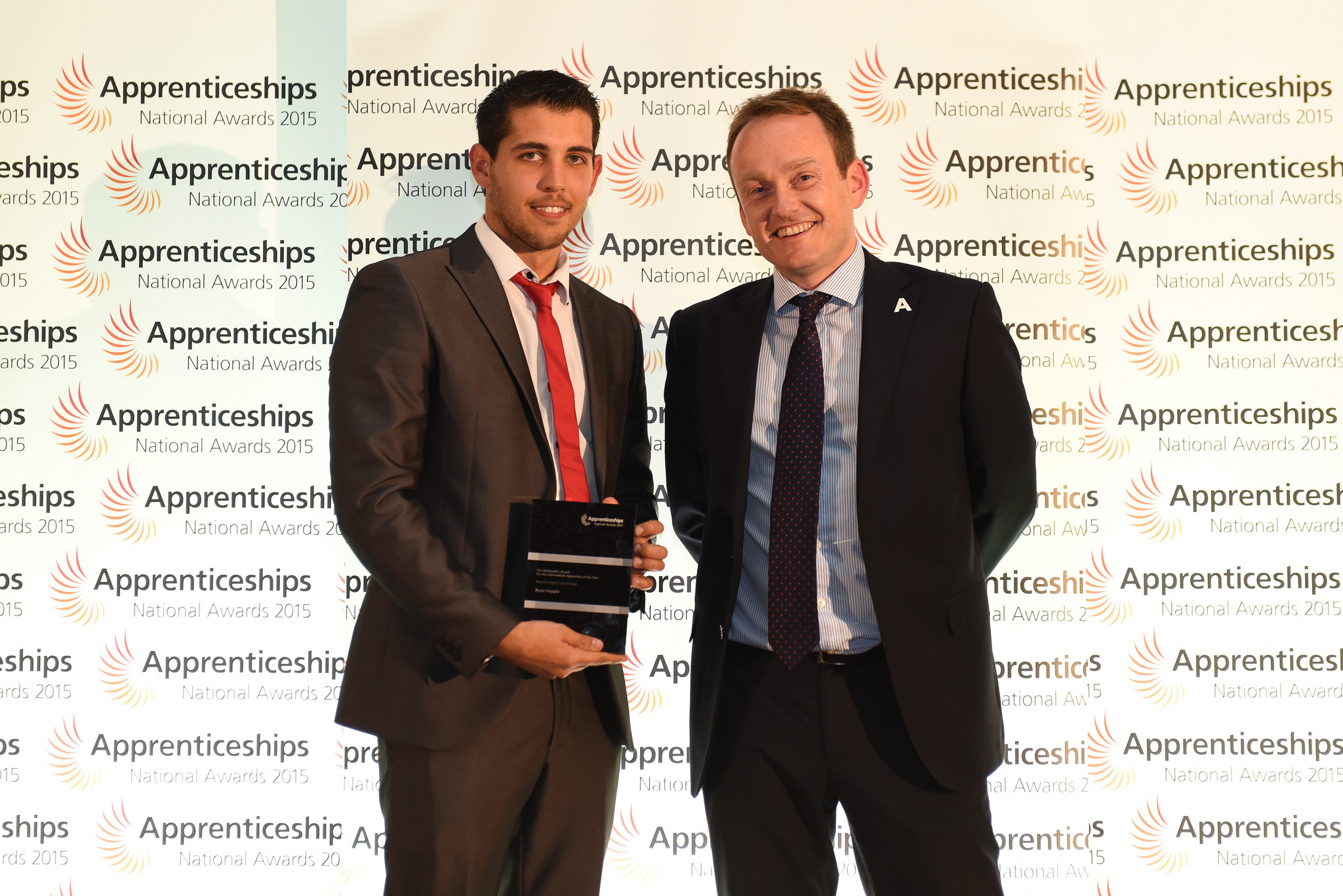 Highly Commended Intermediate Level Apprentice (L-R) Ryan Heppie, level two, TW Steam and Heating Ltd, and Anthony Knowles, Skills Funding Agency at the National Apprenticeship Awards  in the Newcastle Discovery Museum October 15