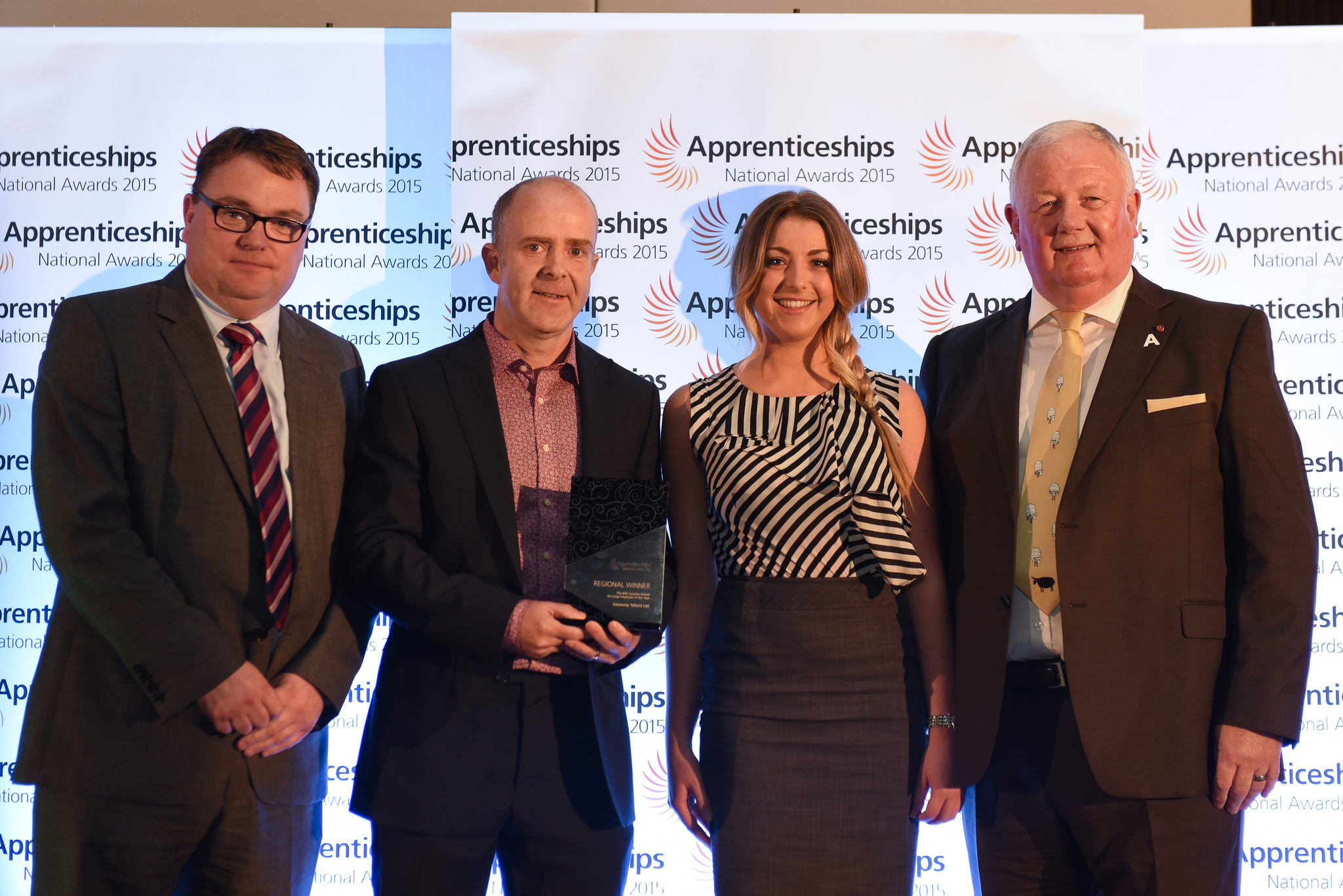 Winner of Large Business of the Year (L-R) Ian Clifford, PX Limited, Paul Healy, Redcar & Cleveland Borough Council, David Pearson & Hannah Potter : Gestamp Tallent LTD and George Ritchie MBE, PX Limited in Discovery Museum, October 15