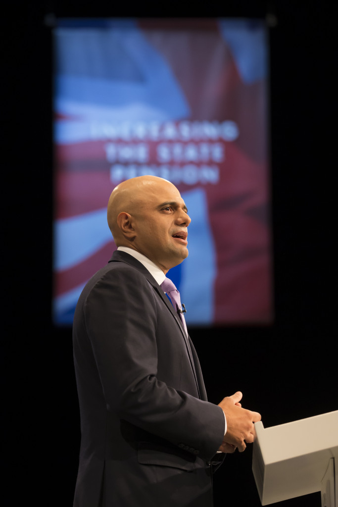 Business Secretary Sajid Javid speaks at Conservative Party Conference Pic: PA Photo/Jon Super