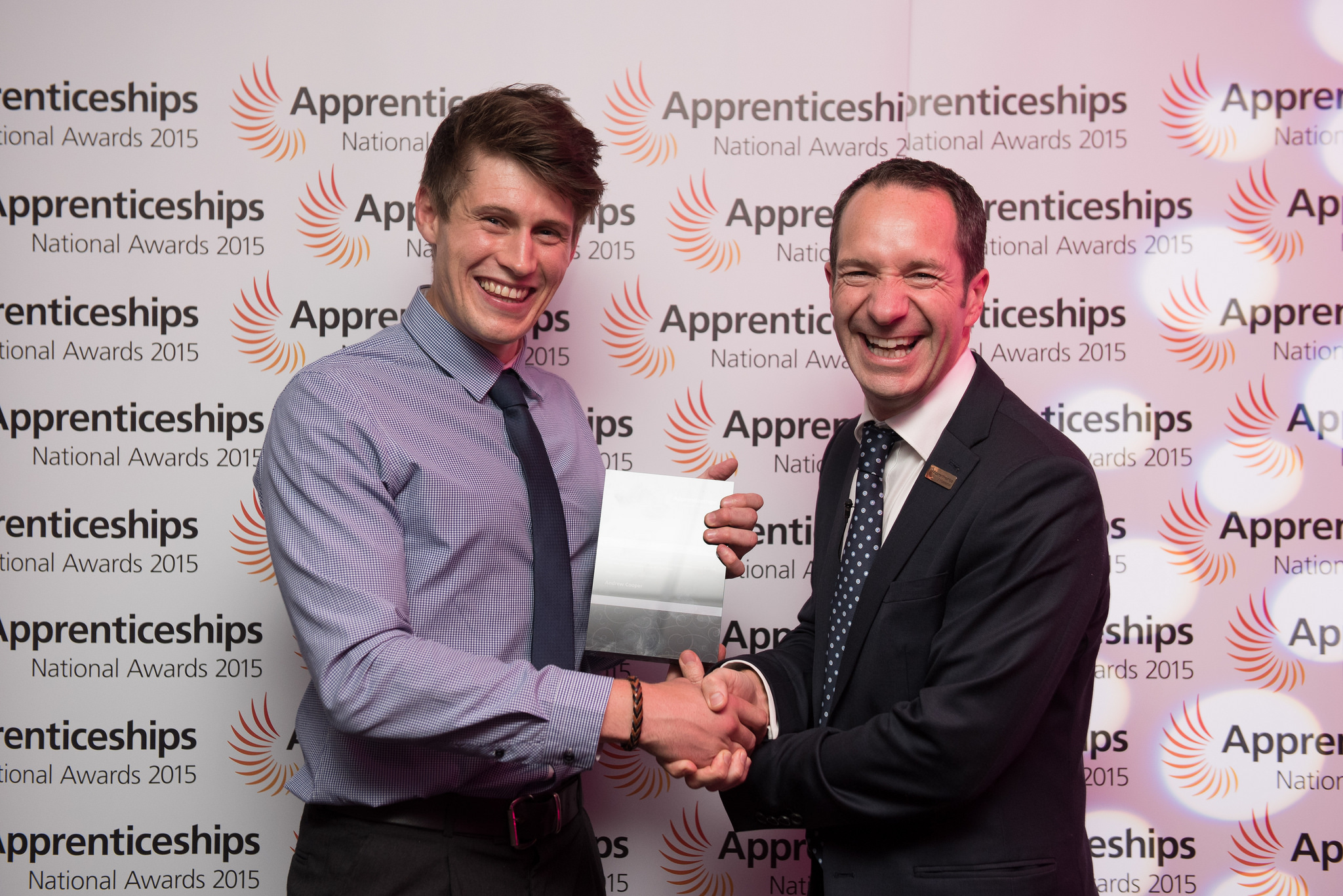 (L-R) Andrew Cooper, level four, GKN Aerospace, HC : The Nuclear Decommissioning Site Licence Companies Award for the Higher Apprentice of the Year with guest presenter Nigel Fenn, South West Ambassadors Network