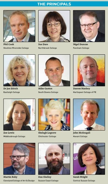 A number of principals from FE and sixth form colleges in the Solent,Tees Valley, and Sussex coast areas