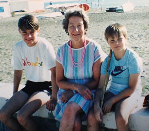 Wright as a young teenager with his grandmother Joyce and his brother Gary