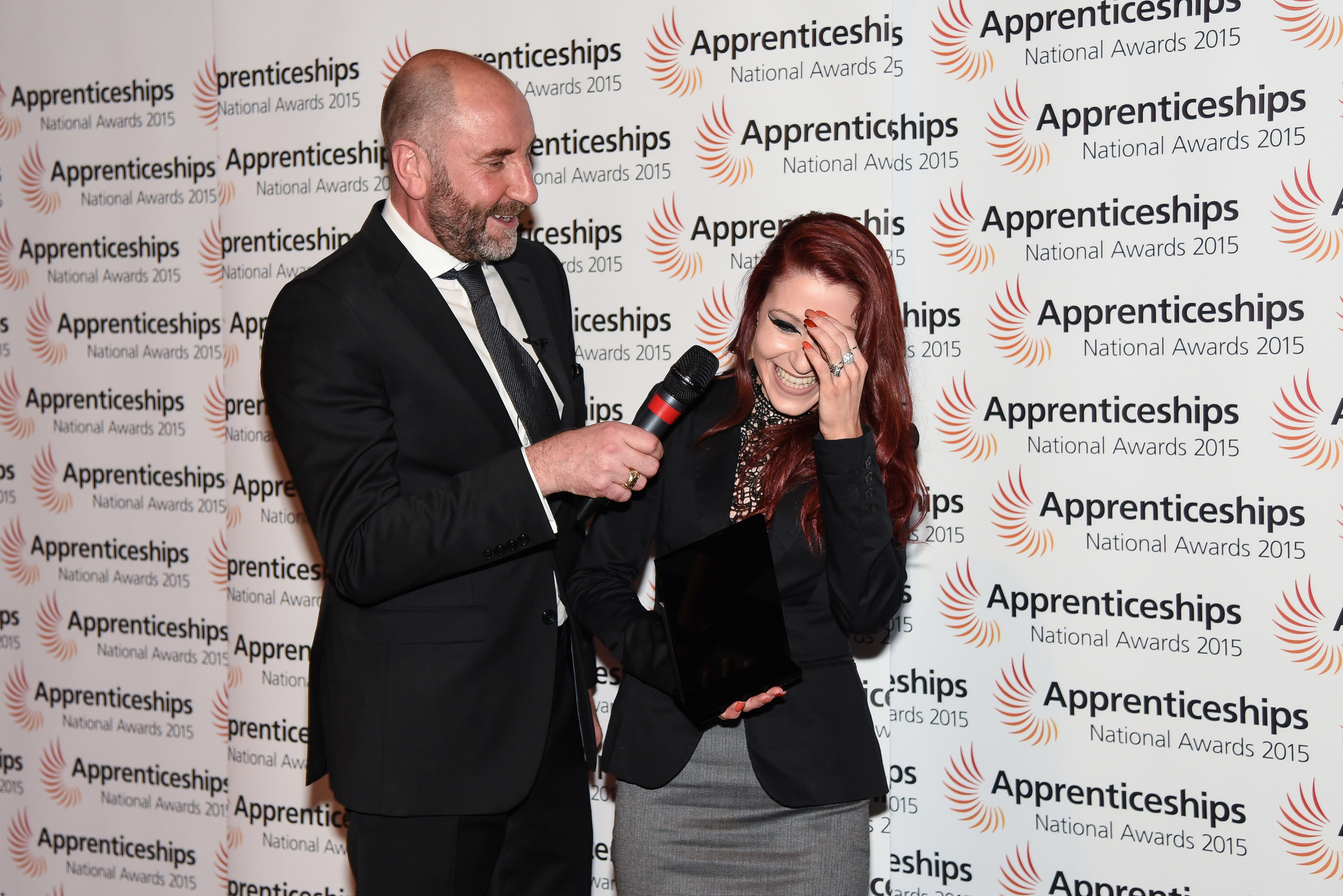 Yorkshire & the Humber host Garry Rae at National Apprenticeship Awards with Apprentice of the Year Award Winner, April Bell, level three, October 8