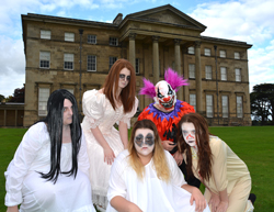 From left: level three BTec performing arts learners Kerrie-Alice Brown, aged 18, Charlotte Flood, 16, Beth Coxon, 16, George Hargrave, 18, and Chloe Lee, 17, outside Attingham Park