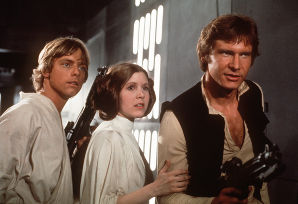 Harrison Ford, Mark Hamill and Carrie Fisher in a scene from Return of the Jedi