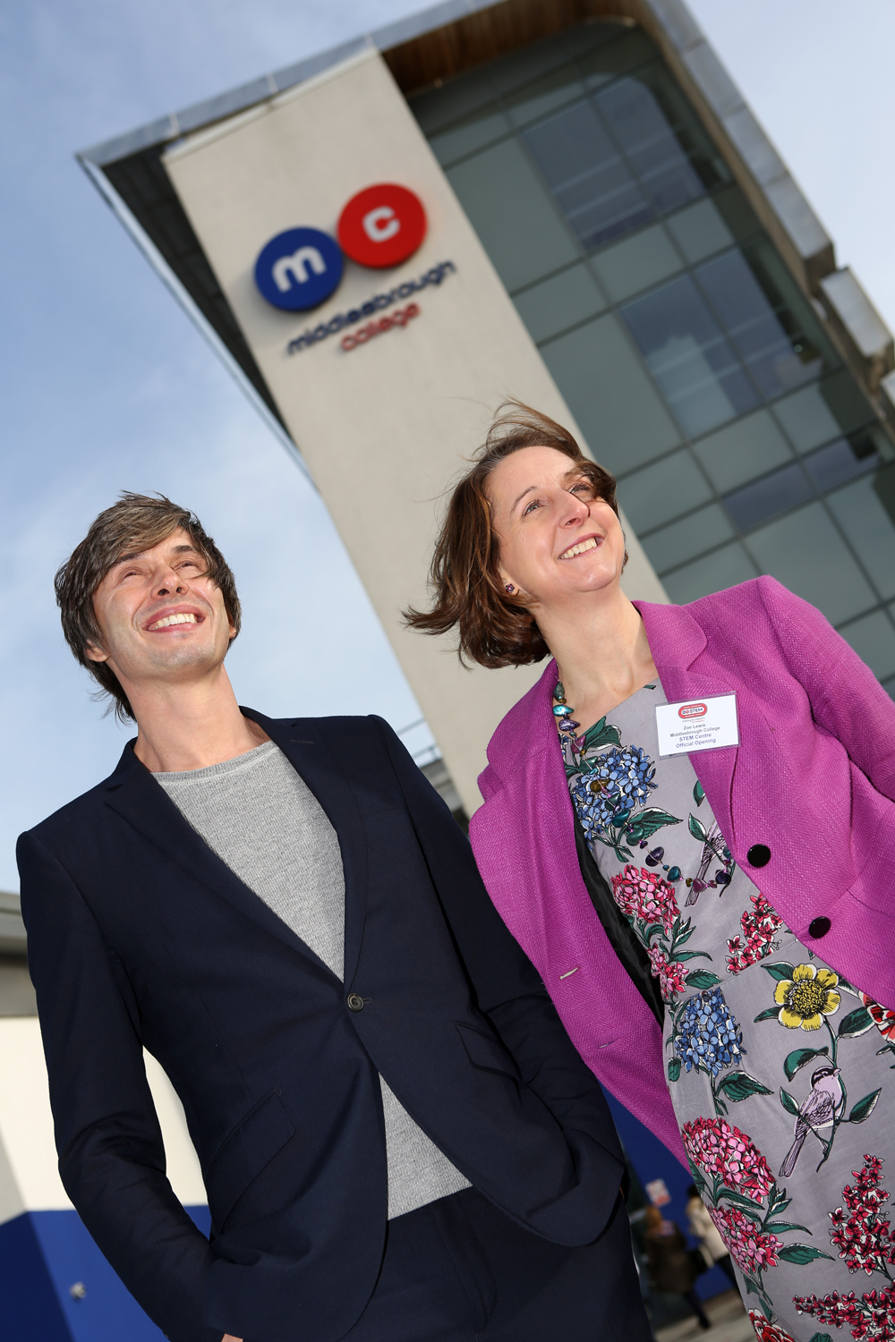 Professor Brian Cox with Middlesbrough College principal Zoe Lewis