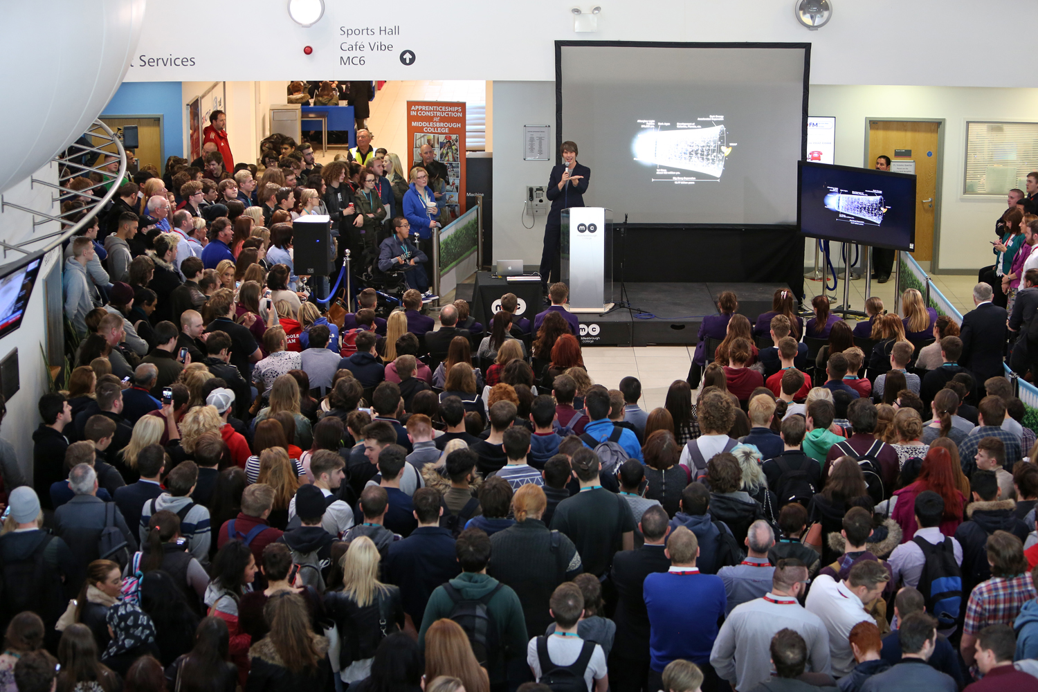 Professor Brian Cox speaks to Middlesbrough College learners and staff