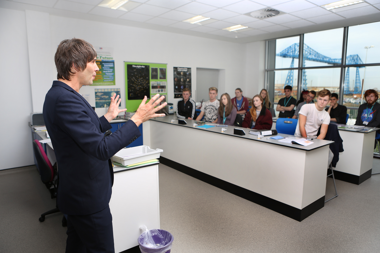 Professor Brian Cox speaks to Middlesbrough College learners