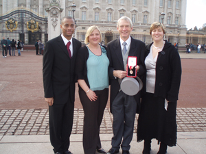 From left: Sir David's son Richard and his daughters Jane and Ruth outside Buckingham Palace after his knighthood in 2007