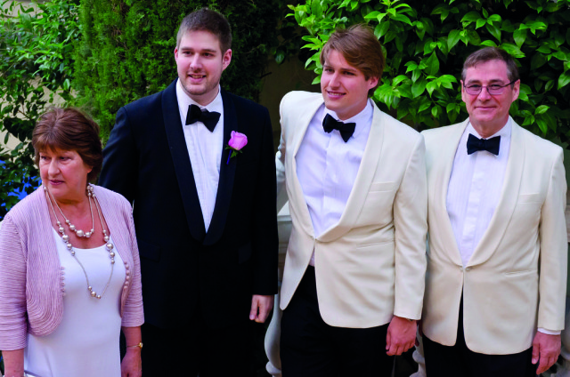 From left: Pollard's wife Jane, sons Sebastian and Nicholas and Pollard at a wedding in 2010