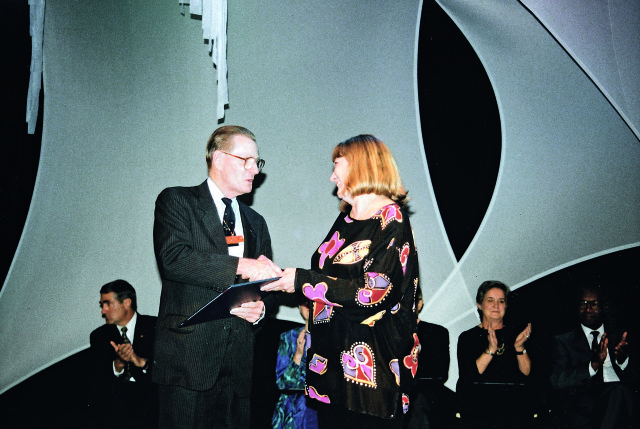 Morpeth at the Commonwealth of Learning conference in Durban where she was awarded an Honorary Fellowship in 2002