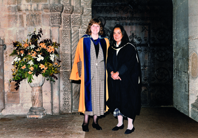Morpeth at her degree ceremony at Ely Cathedral with Helen Lentell being awarded an Honorary Doctorate for her contribution to distance learning in 1994
