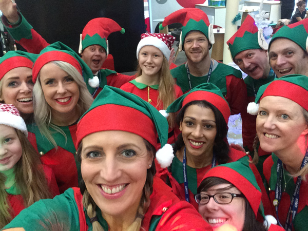 Elves running festive college fair