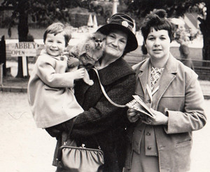 From left: Wright, aged two, with a monkey, grandmother Kathleen and mum Ann