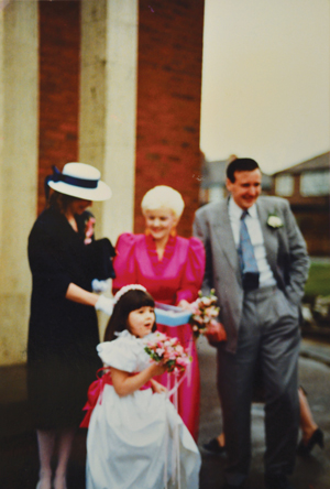 Lappin's wedding, in 1987, with daughter Lori as bridesmaid and friend Julie Kelly