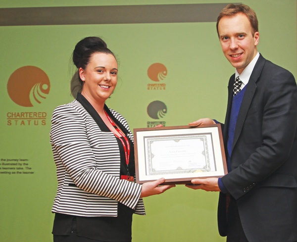 Student's prize-winning Chartered Status logo dropped