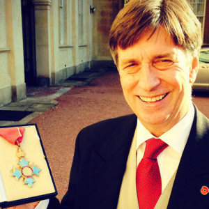 Peter Roberts collecting his CBE