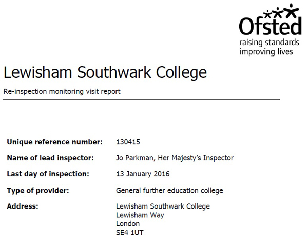 College given Ofsted boost after double grade four
