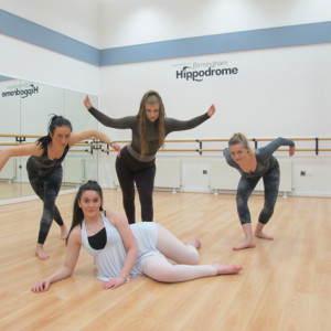 From left: Walsall College dancers Ann-Marie Wood, Chelsea Cowley, Emily Hartshorne and Faye Bolan (front) during rehearsals at the Birmingham Hippodrome theatre