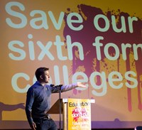 Owen Jones. NUT 6th form College strike against Government cuts to sixth form college funding. London. © Jess Hurd/reportdigital.co.uk