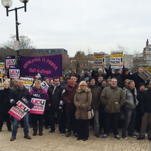 Hull College staff during strike action, in February, over the Association of Colleges' recommendation for a zero per cent pay rise in 2015/16