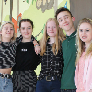 From left: Sussex Downs College students Isabel Macpherson, Vita Measure-Hughes, Amy Godfrey, all aged 17, and Archie Benton and Samantha Clark, both 18, with the finished mural