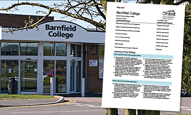 Barnfield College welcomes improved Ofsted rating