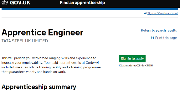 Exclusive: Apprentice vacancy with troubled Tata Steel advertised by government