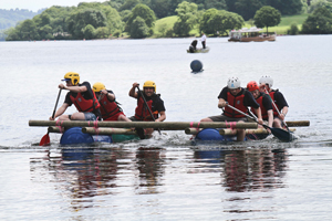Apprentices go rafting in the mission  accomplishment task at the Brathay challenge