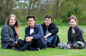 From left: Priestley College friends Laura Nicholson, aged 17, Scott Kingsley, 18, Gregory Horne, 18, and Charlotte Whittaker, 18