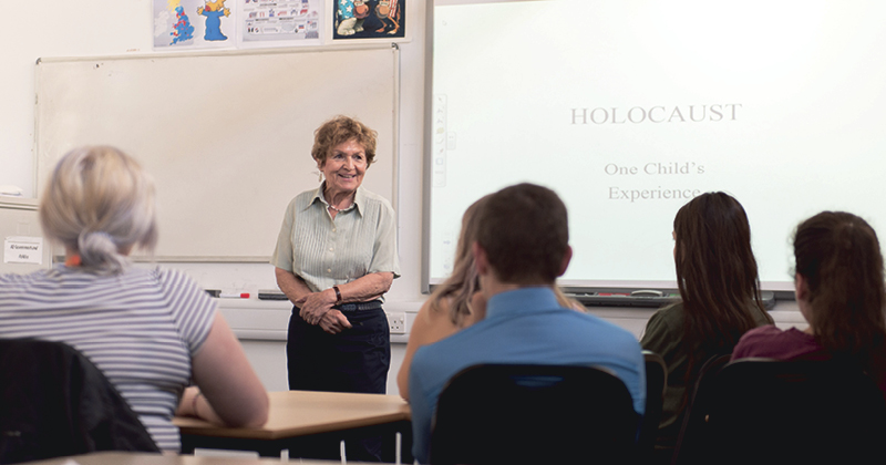 Holocaust survivor shares her story with students