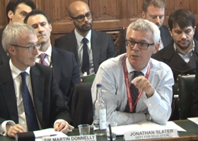 Sir Martin Donnelly and Jonathan Slater during the hearing
