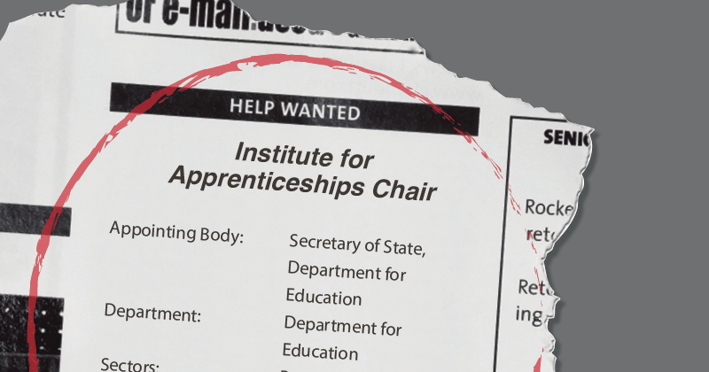Search begins for chair of the Institute for Apprenticeships