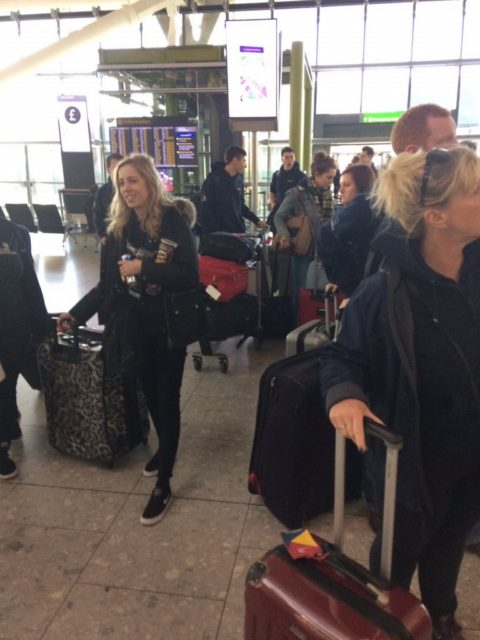 Team UK arriving at Heathrow