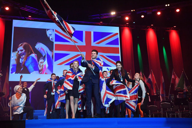 Team UK taking to the stage at the opening ceremony