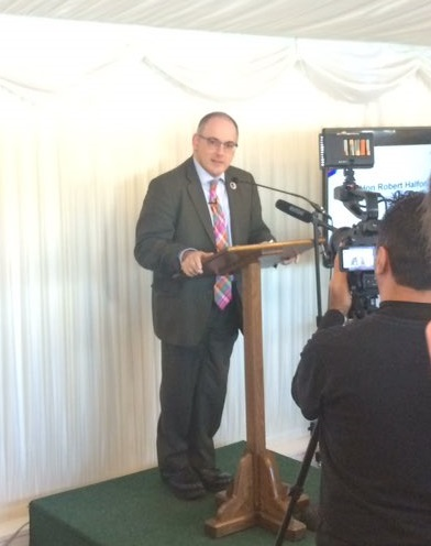 Robert Halfon speaking at the EuroSkills Team UK send off event